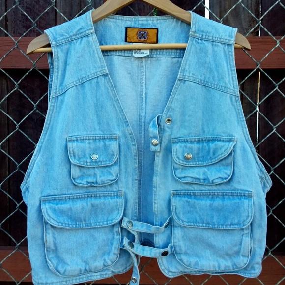 Baccini Jackets & Blazers - Vintage Baccini Light Blue Denim Vest with Pockets